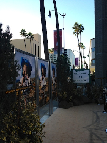 "Setting up the ""trail"" carpet at the LA Premiere!"