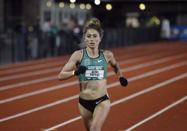 Alexi Pappas wins her season opener 5k at the Oregon Relays at home in TrackTown, USA. Photo: TrackTown