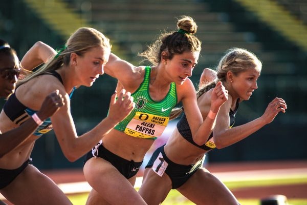 Alexi Pappas at the Oregon Twilight on May 6. Of Greek descent, she has dual citizenship and has been accepted onto Greece's Olympic team in the 10,000 meters. Credit Thomas Boyd for The New York Times