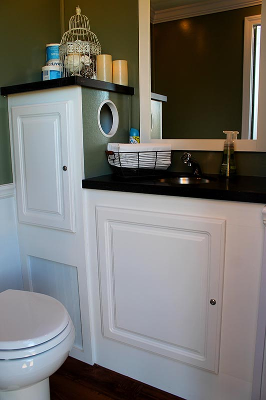 the beautiful interior of a Luxury Restroom Trailers event restroom